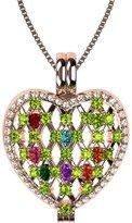 Nana Sterling Silver Heart Locket Mother's PendantRose Gold Flashed - Peridot Simulated Birthstone - Aug