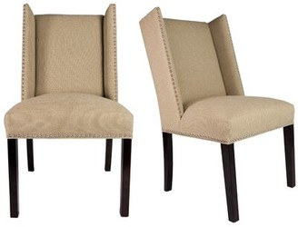 Darby Home Co Nata Winged Nailhead Upholstered Side Chair Finish: Espresso