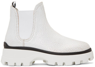 Miu Miu White Crackle Chunky Boots