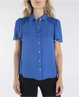 Nanette Lepore nanette Short Sleeve Button Down with Flutter Sleeves and Pleats