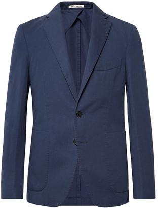 Salle Privée Navy Ross Slim-Fit Unstructured Cotton And Linen-Blend Suit Jacket