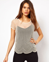 TFNC Sheer T Shirt With Embellishment