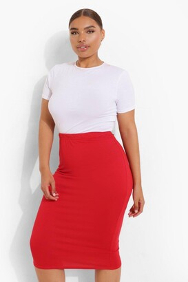 boohoo Plus Midi Tube Skirt