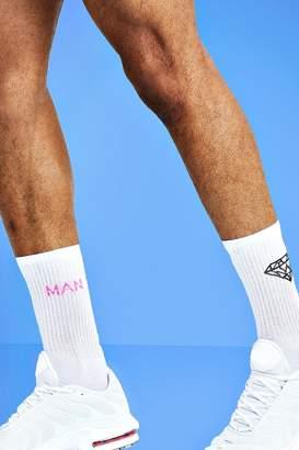 boohoo Mist 2 Pack Diamond Socks