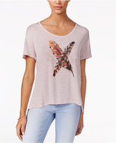 Jessica Simpson Cutout Feather Graphic T-Shirt