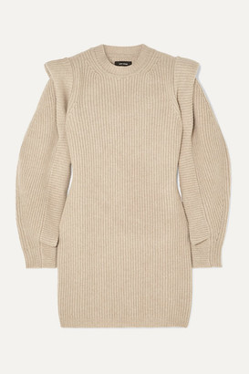 Isabel Marant Beatsy Ribbed Cashmere And Wool-blend Mini Dress - Neutral
