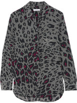 Equipment Reese Leopard-print Washed-silk Shirt - Dark gray
