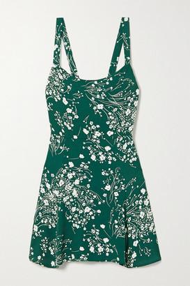 Reformation Tempest Floral-print Crepe Mini Dress - Forest green