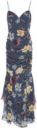 Nicholas Ruched Floral-print Silk-chiffon Maxi Dress