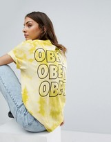 Obey Bleached Boyfriend T-Shirt With Logo Back Graphic