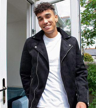 ASOS DESIGN Tall faux suede biker jacket in black