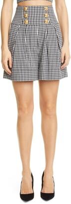 Balmain Gingham High Waist Cotton Blend Shorts