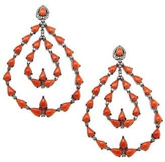 Nina Gilin Black Rhodium-Plated, Coral & Diamond Chandelier Earrings