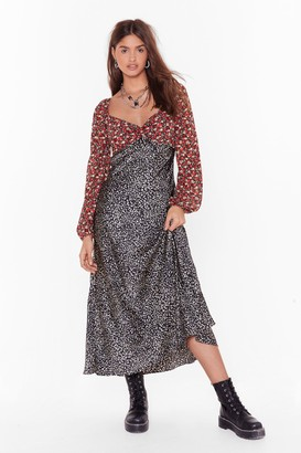 Nasty Gal Womens Mix Us a Drink Floral Leopard Maxi Dress - black - 4