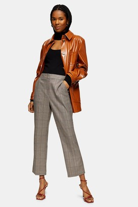 Topshop Womens Brown Check Kick Flare Trousers - Brown