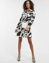 Asos Design DESIGN Long sleeve shirt dress in cow print