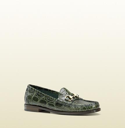 Gucci Horsebit Loafer In Crocodile