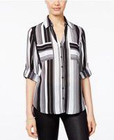 Amy Byer Juniors' Printed Roll-Tab Shirt