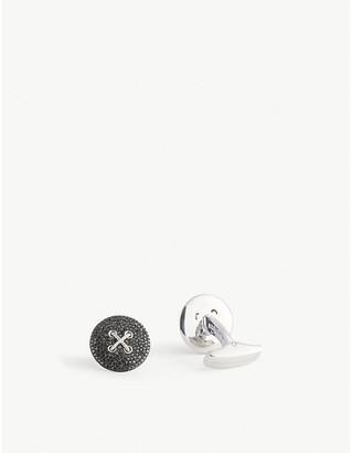 Tateossian Button sterling-silver and 1.14ct black diamond cufflinks