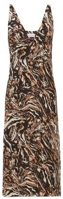 Raey Bust-cup Marbled Animal-print Silk Slip Dress - Brown Print