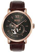 BOSS Signature Automatic Leather Strap Watch, 44mm