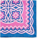 Kiton Fancy Bandana Printed Silk Pocket Square, Pink