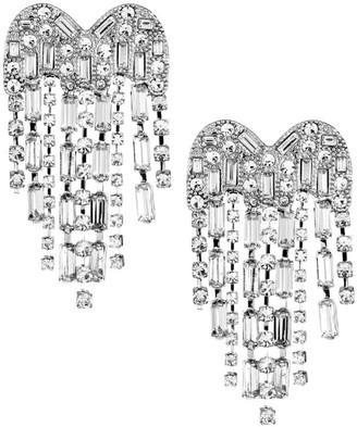 Kenneth Jay Lane Silvertone Heart Chandelier Earrings
