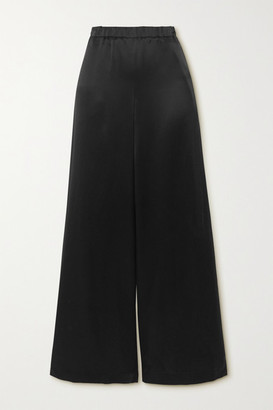 LA COLLECTION Christine Silk-satin Wide-leg Pants - Black