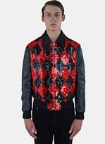 Saint Laurent Men's Sequinned Diamond Harlequin Leather Teddy Jacket In Black And Red