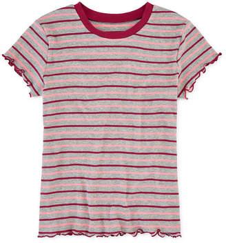 Arizona Striped Girls Round Neck Short Sleeve T-Shirt