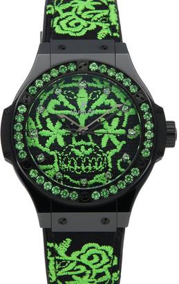 Hublot Green/Black Ceramic Big Bang Broderie Sugar Skull Fluo Malachik Limited Edition 343.CG.6590.NR.1222 Women's Wristwatch 41 MM