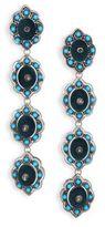 Gucci Floral Studded Enamel & Velvet Clip-On Drop Earrings