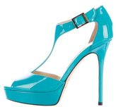 Jimmy Choo Patent Leather T-Strap Sandals