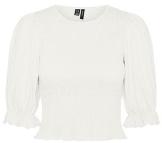 Vero Moda Anne 3/4 Smock Top White - XS