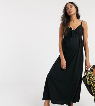 Asos DESIGN Maternity cami bow front maxi sundress in black