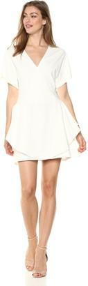 Halston Women's Short Sleeve V Neck Ponte Dress with Flounce Skirt