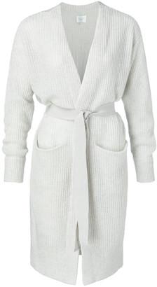 Ya-Ya Long Belted Cardigan with Front Pockets Pigeon Grey - medium | light grey - Light grey