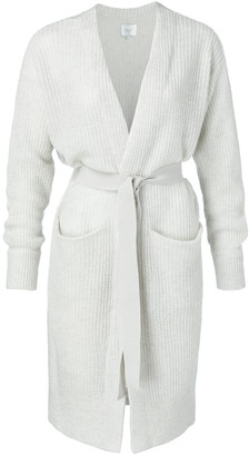 Ya-Ya Long Belted Cardigan with Front Pockets Pigeon Grey - small | light grey - Light grey