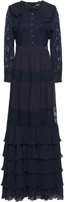 Just Cavalli Tiered Paneled Lace And Plisse-georgette Maxi Dress
