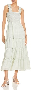 Lucy Paris Smocked Gingham Maxi Dress