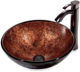 Bed Bath & Beyond VIGO Mahogany Moon Tempered Glass Vessel Sink with Curved Faucet