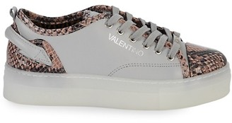 Valentino By Mario Valentino Dalia Sauvage Embossed-Python Leather Sneakers