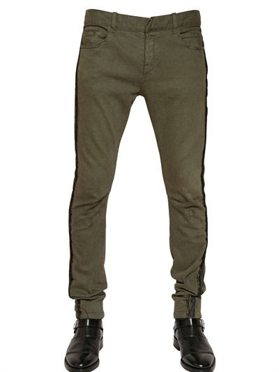 Balmain 17cm Stretch Jeans With Trim Piping