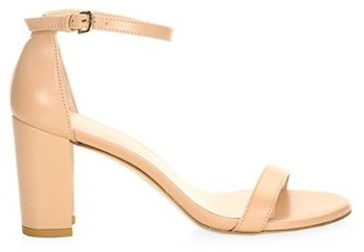 Stuart Weitzman Nearlynude Block-Heel Leather Sandals