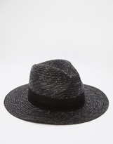 Asos Straw Fedora Hat In Black