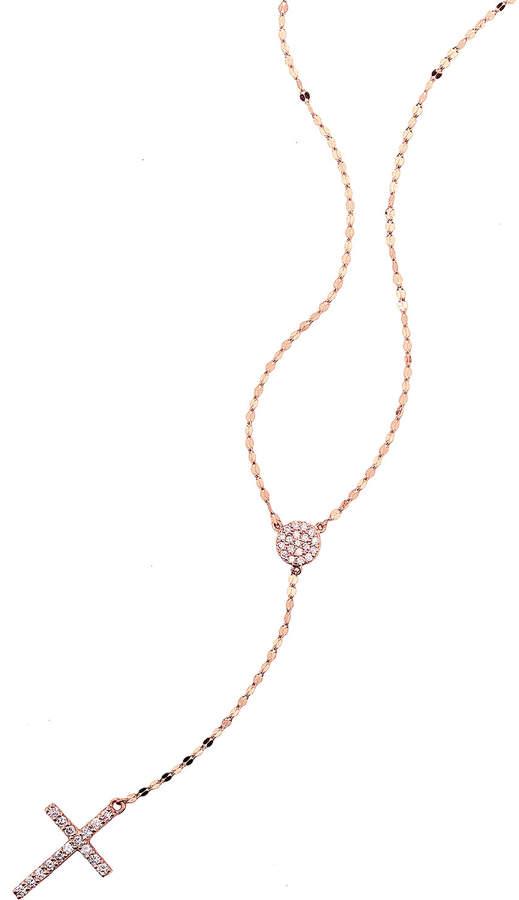 Lana Femme Fatale Diamond Cross Lariat Necklace in 14K Rose Gold