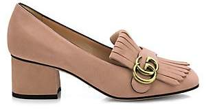 Gucci Women's Marmont GG Suede Block Heel Pumps