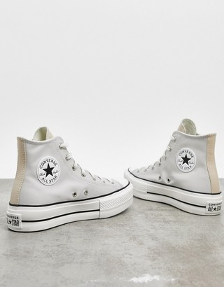 Converse Chuck Taylor Lift hi platform trainers in off white and beige contrast