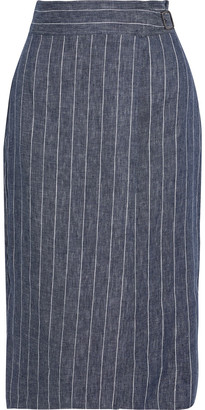 Max Mara Palco Wrap-effect Pinstriped Linen-chambray Pencil Skirt