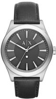 Armani Exchange Nico Diamond Stainless Steel Leather Strap Watch